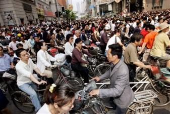 crowded bike commuters