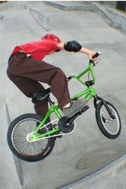 bmx with kids in skatepark