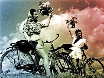 Ladies on bikes back in the day