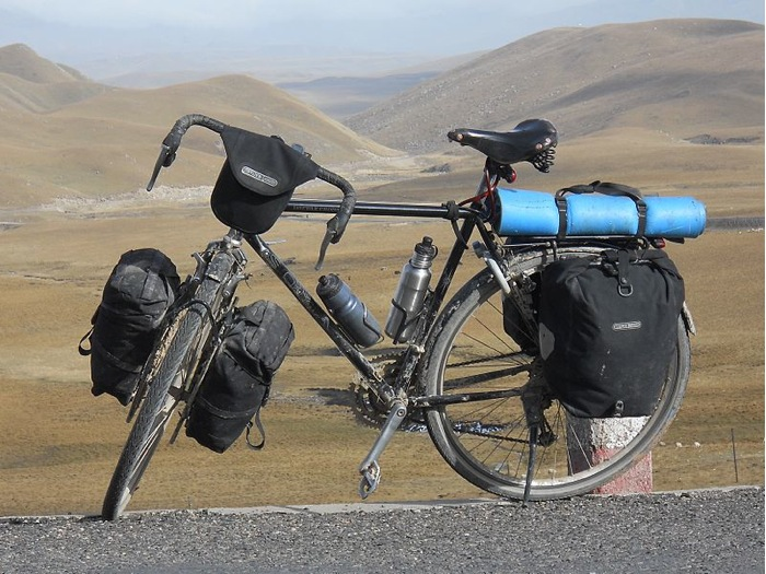 A fully loaded touring bicycle