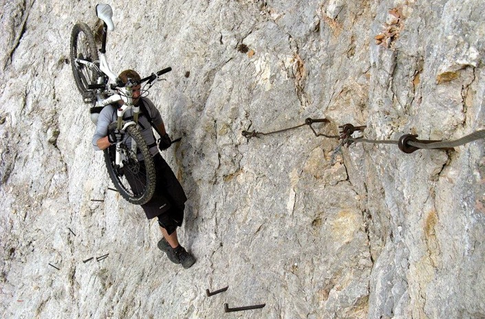Rock climbing with a mountain bike