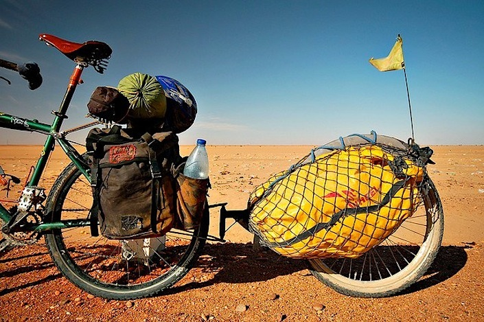 Paniers and trailer bicycle touring