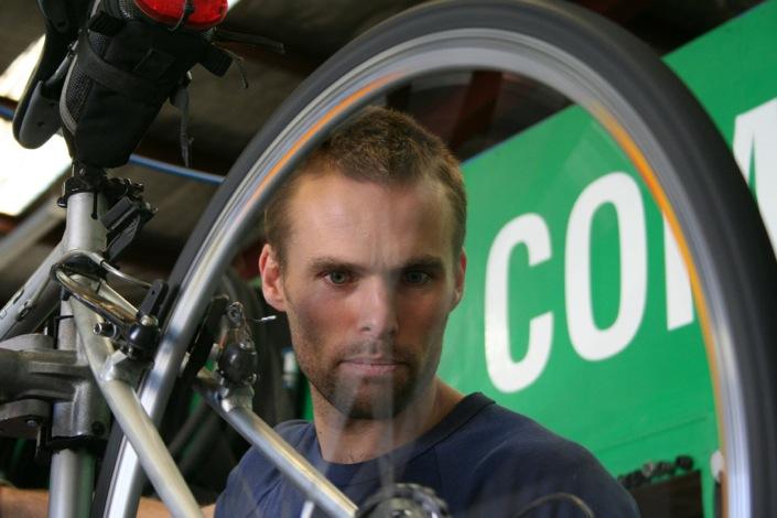 Servicing a bike at Commuter Cycles, VIC, Australia