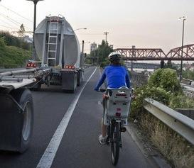 bike commuting with trucks