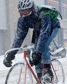 cycling in the snow