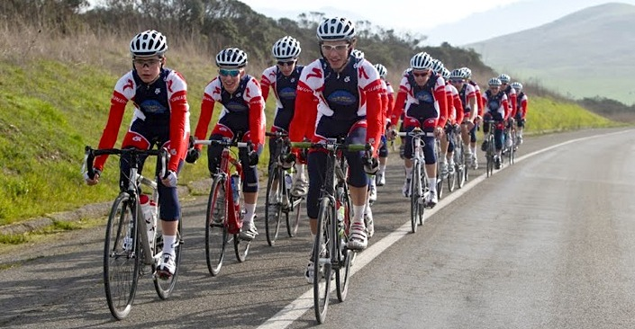 double paceline cycling bunch