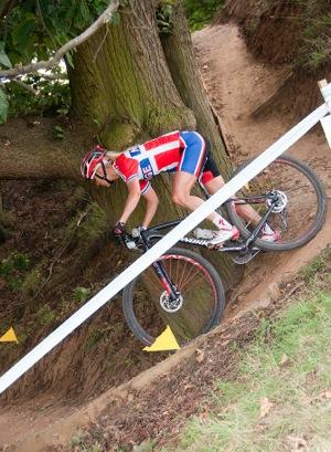 Lene Byberg competing in MTB