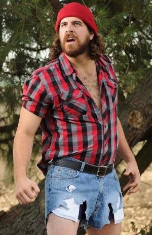 mountain biking lumberjack