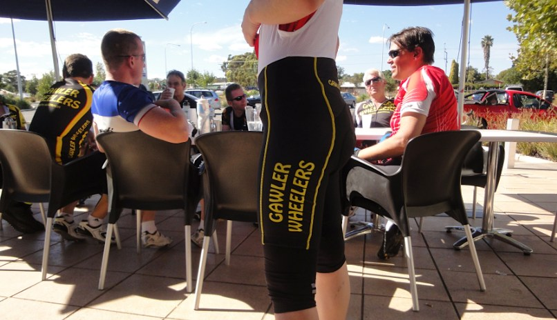 Wearing lycra at a cafe