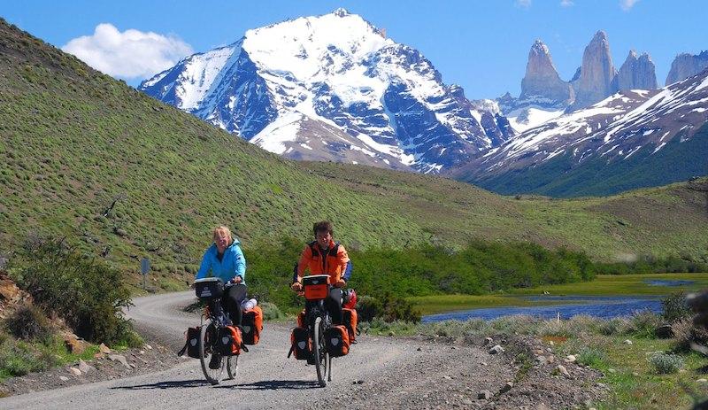 Touring wih bike at Torres del Paine Patagonia