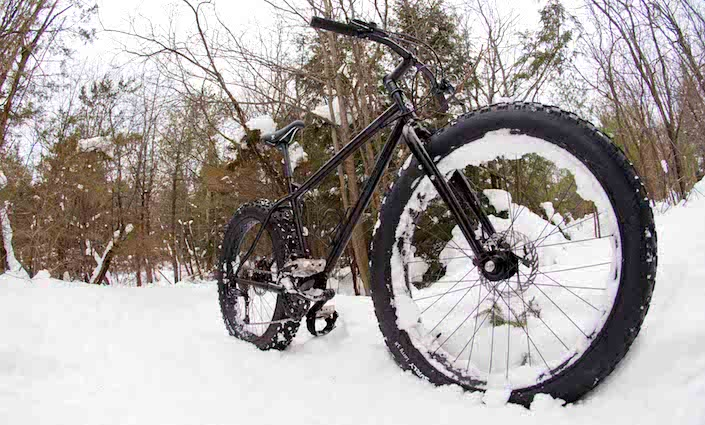 Surly Neck Romancer Pugsley fat bike in the snow