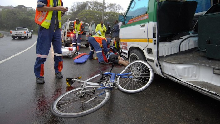 Cycling accident with paramedics, South Africa