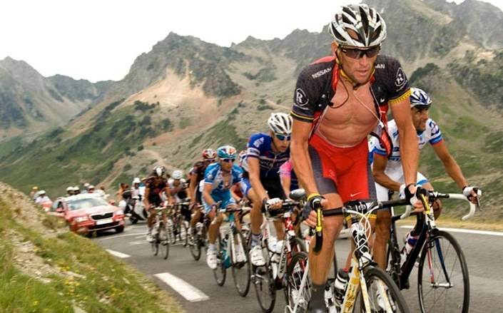 Lance Armstrong climbing in the Tour de France