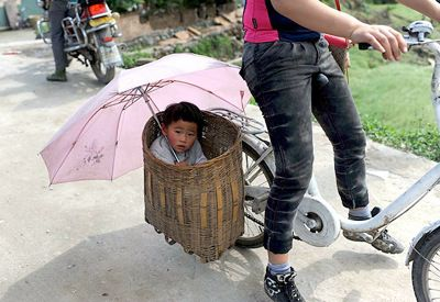 Child in a bicycle basket