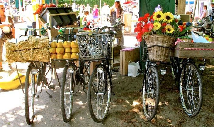 Bikes with baskets at the local market