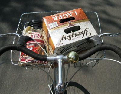Beer in a bicycle basket