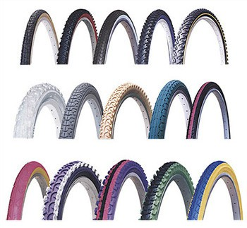 Selection of colored bicycle tires