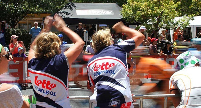 Cycling cheer squad at Santos Tour Down Under