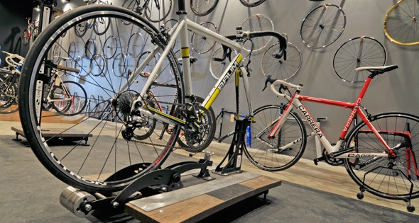 Road bikes ready for purchase at a bike shop