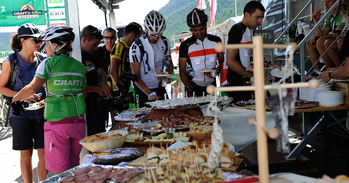 Cyclist eating food