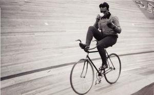 Drinking coffee on bike