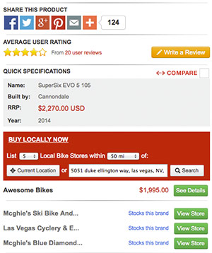 Compare prices from Local Bike Shops