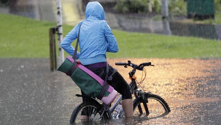 You can ride in and survive wet weather
