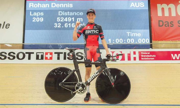 Rohan Dennis Sets Hour Record at 52491 meters (32.616 miles) on 08 February 2015