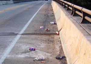 debris along the shoulder or bike lane