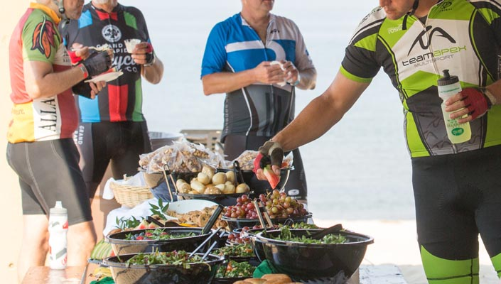 eating and drinking at grand fondo rest stations