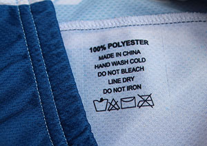 100% Polyester tag