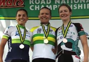 Australian Road National Championship Criterium Women's Podium - 1st - Sophie Mackay (NSW),  2nd - Lizzie WILLIAMS (VIC), 3rd - Lauren KITCHEN (NSW)