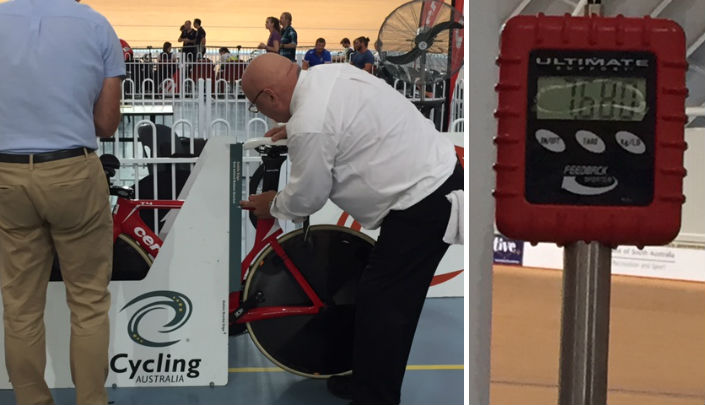 O'Donnell's bike gets the OK from UCI officials. Weighs a regulation 7.68kg.