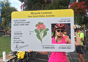 Sydney protesters mocked the governments proposed bicycle licensing laws