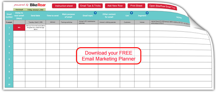 Get your FREE email marketing planner from BikeRoar