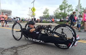 James DuBose racing his recumbent handcycle
