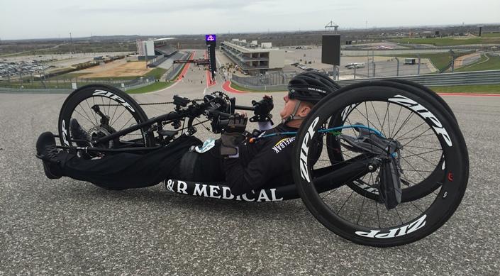 James DuBose handcycle athlete with autoshifting recumbent bike