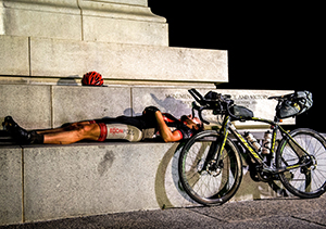 Sleeping while riding bikes