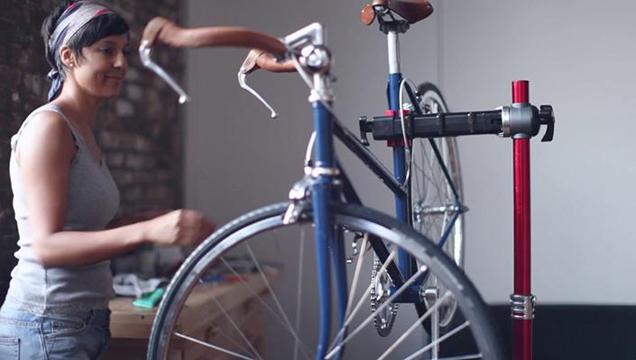 Woman building a road bike