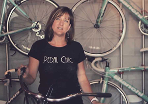 female owner of pedal chic bike shop