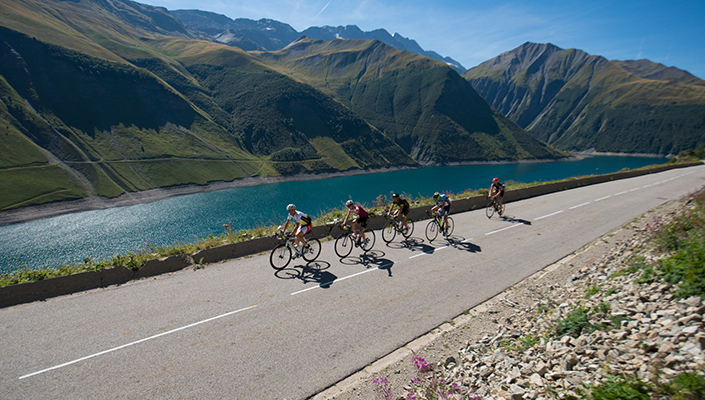 Haute Route Bike Past Lake Landscape