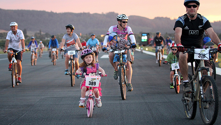 Family Bike Race at Rotorua Airport