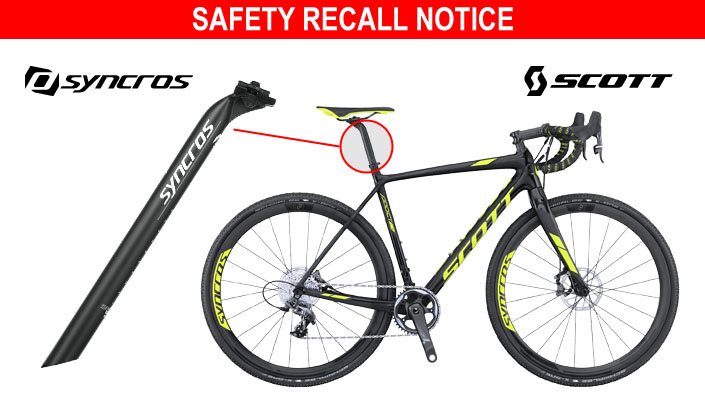 Scott Sports recalls Syncros FL1.0 Carbon Offset seatposts - outfitted on bikes including the Addict CX 10 Disc