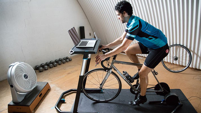 cycling in front of a computer on a trainer