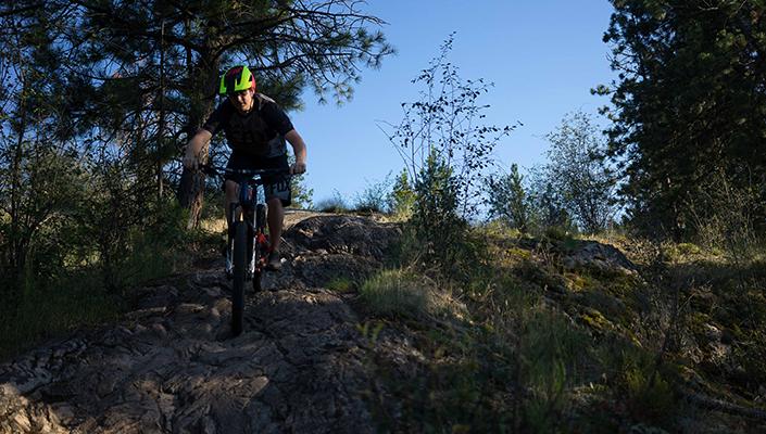 Fox Metah helmet on the trail