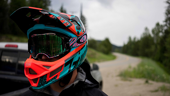 Fox Rampage Pro Carbon MIPS DH helmet on the trail