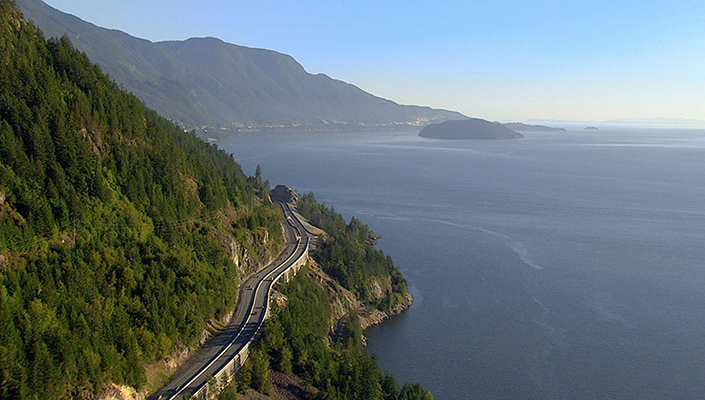 scenic Sea-to-Sky Highway along the Pacific Coast