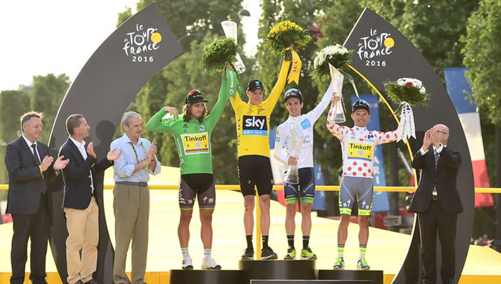Sagan, Froome, Yates, Majka - green jersey, yellow jersey, white jersey, polka dot jersey- Tour de France 2016 final classifications winners