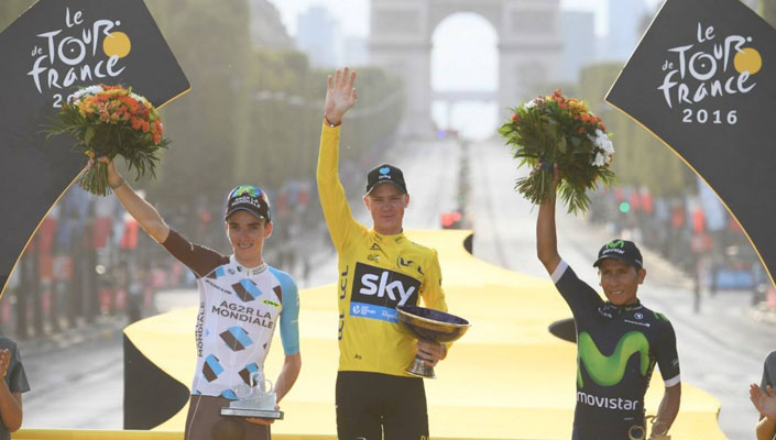 Final General Classification podium: Bardet (2nd), Froome (1st), Quintana (3rd)- Tour de France 2016