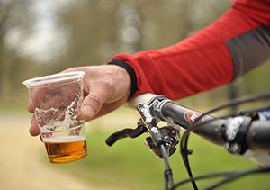 Drinking beer while biking
